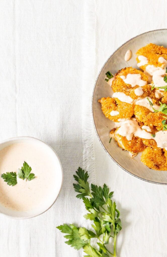moresweetthansalty.com-almond-flour-battered-shrimp-spicy-sauce