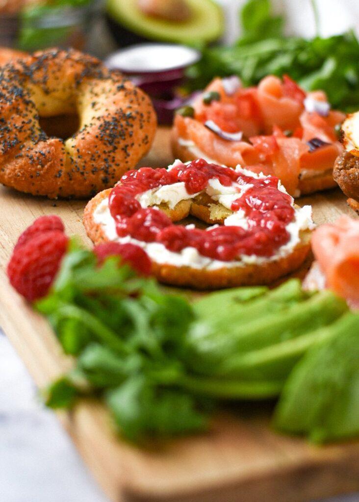 sweetketolife.com-bagel-with-almond-flour-egg-nyc-style-raspberry-jam