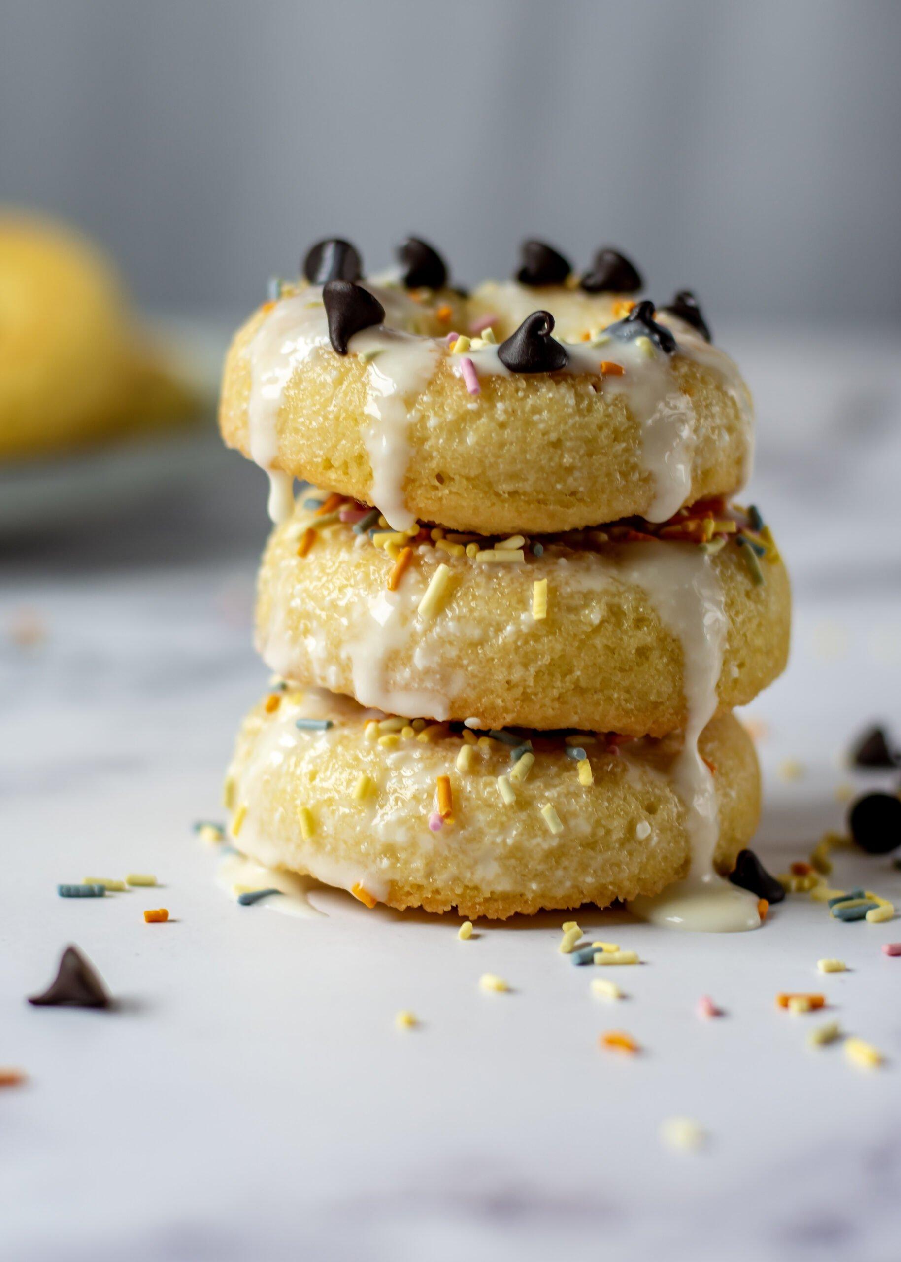 sweetketolife.com-almond-flour-doughnuts-glazed-vanilla-sprinkles-chocolate-glossy
