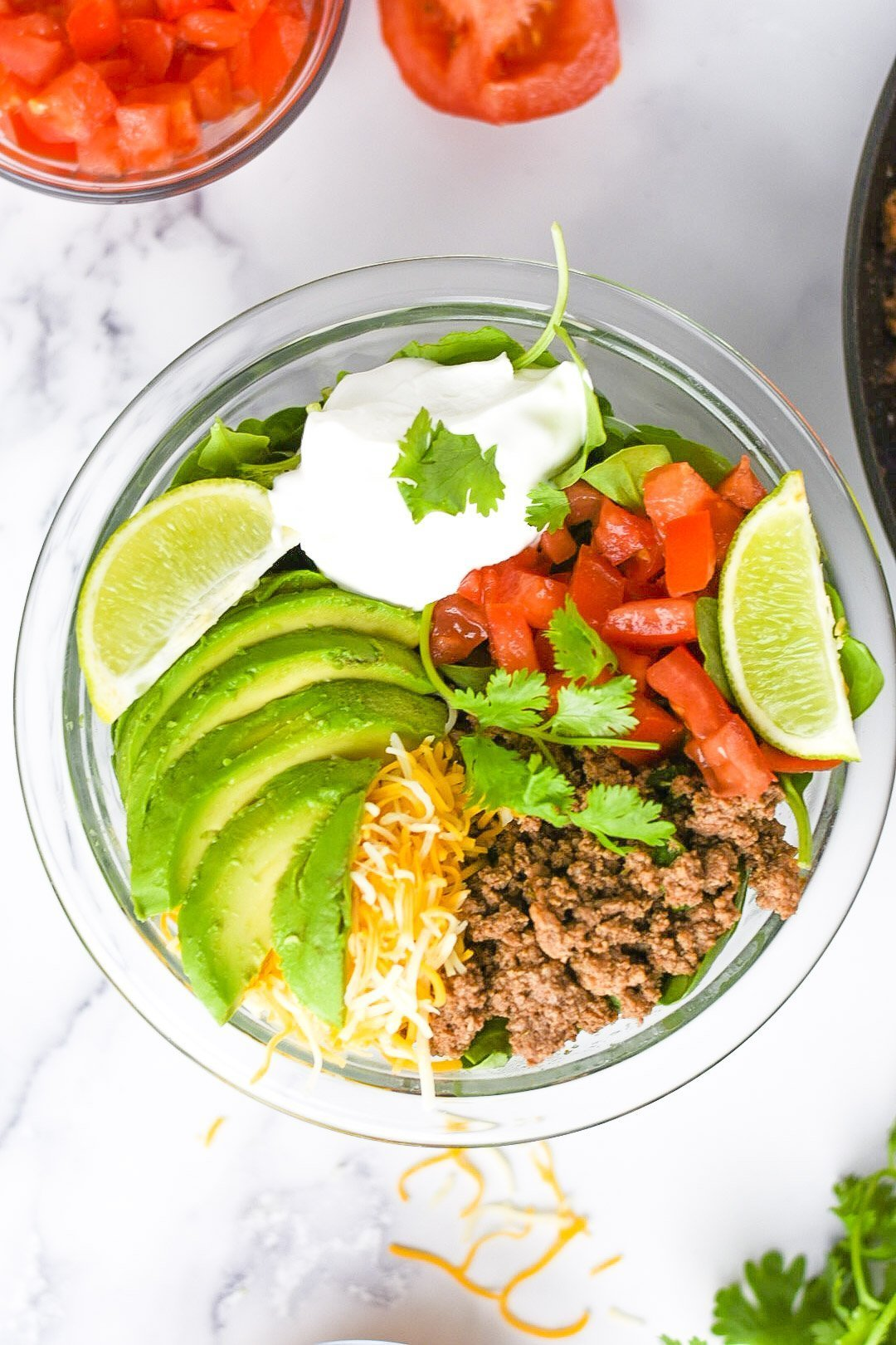 moresweetthansalty.com-taco-salad-for-keto-ingredients-cheesy