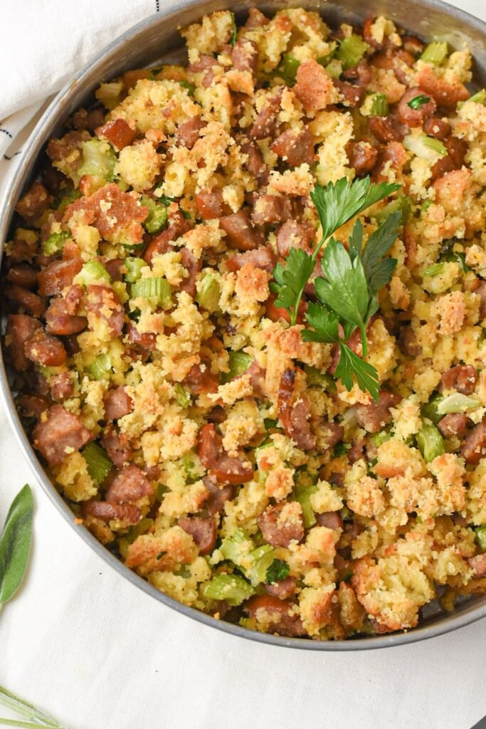 moresweetthansalty.com-keto-stuffing-with-sausage-tureky-celery