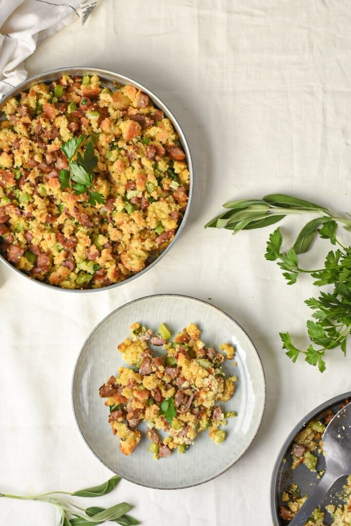 moresweetthansalty.com-keto-stuffing-with-sausage-tureky-tasty